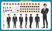 People Character Business Set. Front, Side, Back View Animated Character.   Businessman Character Cr poster