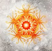 Color Ornamental Mandala And Softly Blurred Watercolor Background. Sacral Chakra poster