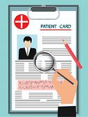 Clipboard - Patient Card With Photo, Cardiogram, Hand With Magnifier - Isolated On White Background  poster