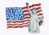 Statue Liberty On Flag American- Hand Drawn In White Background. Watercolor Painting Of Symbol Famou poster