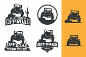Set Of Off-road Suv Car Monochrome Logo, Emblems And Badges Isolated On White Background. Rock Crawl poster