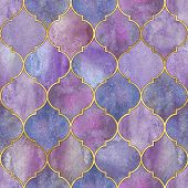 Vintage Decorative Moroccan Seamless Pattern With Gold Line. Watercolor Hand Drawn Blue Purple Endle poster
