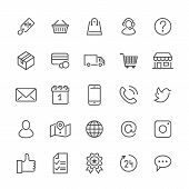 Online Shopping Flat Line Icons. E-commerce Business, Contacts, Support, Social Networks, Shop Baske poster