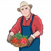 Farmer With Basket Of Fresh Vegetables, Vector Illustration, Cartoon Drawing. Colorful Portrait Elde poster