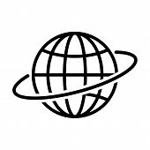 Globe Outline Icon In Flat Style. Earth Symbol Isolated On White Background. Globe Icon. Simple Abst poster