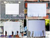 Set Of Blank White Paper With Tear Off Tabs poster