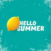 Vector Hello Summer Beach Party Flyer Design Template With Fresh Lemon Isolated On Grunge Azure Back poster