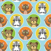 Cute Little Animals Seamless Pattern. Bear, Cat And Raccoon In Color Circles On A Blue Background. F poster