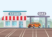 Cartoon Illustration Car Is At Gas Station Near Store. Gasoline Industry Concept. Clipart. Flat Styl poster