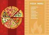 Different Types Of Pizza. Menu. Pizzeria Concept. Vector Illustration. Clipart. Flat Style. poster