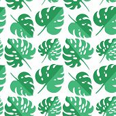 Vector Tropical Seamless Pattern With Green Tropical Leaves. Paper Cut Style. Exotic Background. Col poster