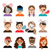 Face Painting Kids. Children With Painting Faces Vector Illustration, Facing Paintings Like Fox, Tig poster