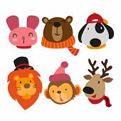 Cute Animals Collection, Face Animals Collection, Animals Set poster