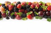 Black And Red Food At Border Of Image With Copy Space For Text. Ripe Blackberries, Strawberries, Plu poster