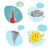 Cartoon Weather Characters Set. Friendly Sun, Raindrop Cloud, Smiling Thermometer Mascot And Funny T poster