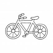 Bicycle Handdrawn Sketch Isolated On White, Black Doodle Bike Drawing poster