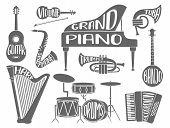 Set Of Musical Instruments With Hand Drawn Lettering With The Names Of The Instruments: Piano, Gutar poster