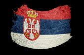 Grunge Serbian Flag. Serbia Flag With Grunge Texture. Brush Stroke. poster