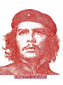 Portrait Of Ernesto Che Guevara Historical Leader Of Cuba On Three Peso Banknotes, Isolated On White poster