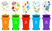 Recycling Garbage Elements. Bag Or Containers Or Cans For Different Trashes. Sorting And Utilize Foo poster