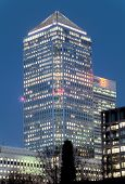 stock photo of hsbc  - Canary wharf tower after sunset - HDR image