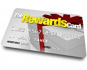 A credit card with the name The Rewards Card and a present shown on it illustrating the benefits, re