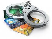 Credit card with handcuffs isolated on white background.  Banking financial crime  and accounting fr poster