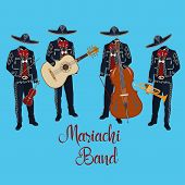 Mariachi Musicians With Guitar, Trumpet, Violin, Double Bass In Mariachi Traditional Costume And Som poster