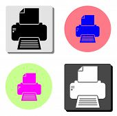Fax. Simple Flat Vector Icon Illustration On Four Different Color Backgrounds poster