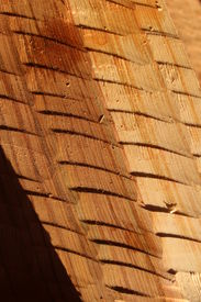 picture of tlingit  - Detail of freshly adzed cedar plank completed in traditional Tlingit Alaska Native style - JPG