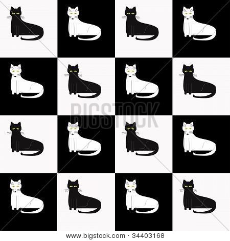 Large Cat Black and White Checkered Pattern
