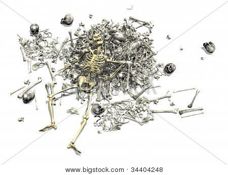 Pile Of Bones With Skeleton