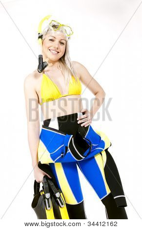 portrait of young woman wearing neoprene with snorkeling equipment