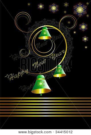 Christmas card with bells on black background