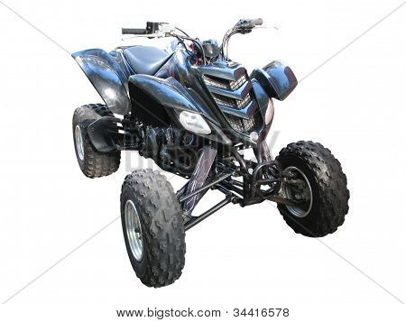Black Quadbike Atv Isolated Over White