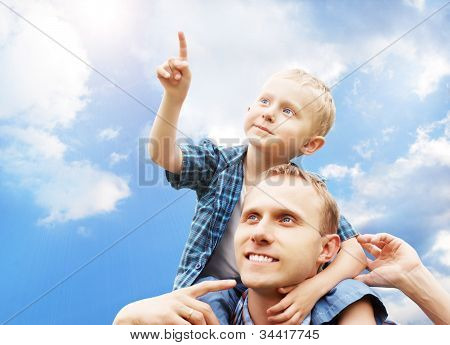 Son At Father's Shoulders