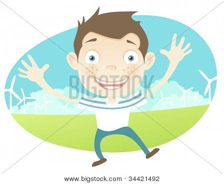 Cartoon Character Guy Isolated on White Background. Vector EPS 10.