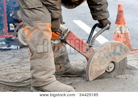 Road works during upgrading road surfaces