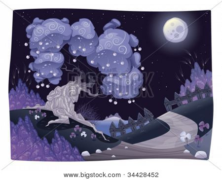 Bucolic nightly landscape on the sea. Vector illustration.