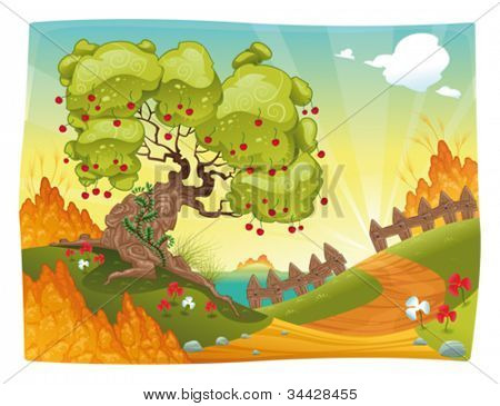 Bucolic landscape on the sea. Vector illustration.