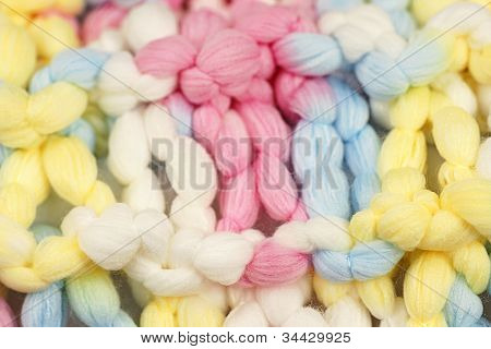 Macro Shot Of Knitted Pastel Color Wool Or Yarn