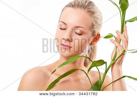 beautiful blond touches bamboo