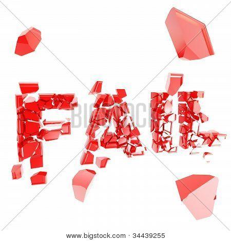 Broken fail metaphor, smashed word explosion