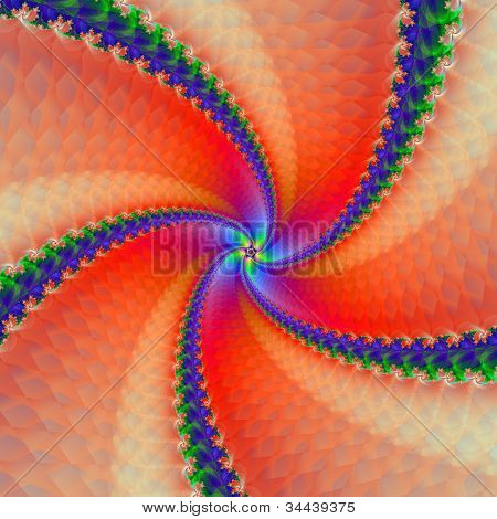 Red and Blue Scaly Spiral