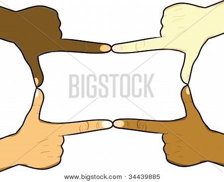 Multiracial Hands Forming a Rectangle
