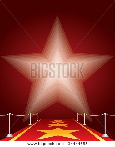 vector illustration of stars on red carpet