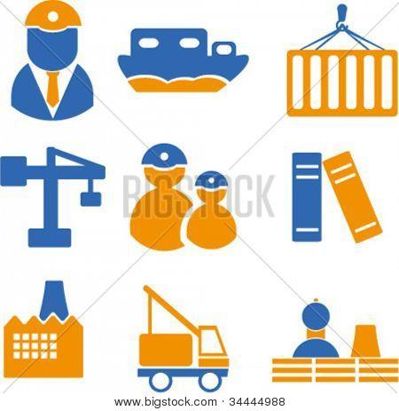 industria los iconos set, vector