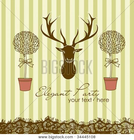 Stylish interior. Party invitation with a Mounted Deer Head