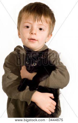 Boy And Kitten.