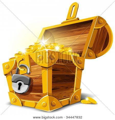Opened antique treasure chest. Vector illustration.